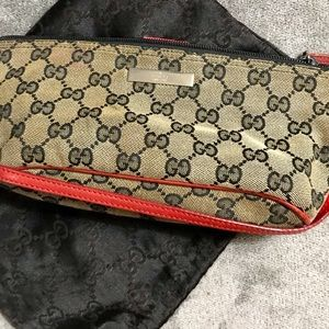 Gucci Tan, Black and Red Clutch